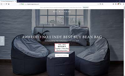 Tamar Valley TV - The Big Beanbag Company Website Homepage 2